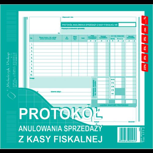 PROTOKÓŁ ANULA SPRZE. Z KASY FISKALNEJ 2/3 171-2-E