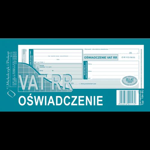 OŚWIADCZENIE VAT RR 184-8-U
